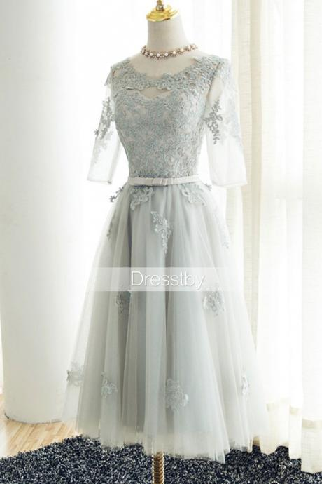 Gray lace tulle tea Length prom dress, gray bridesmaid dress