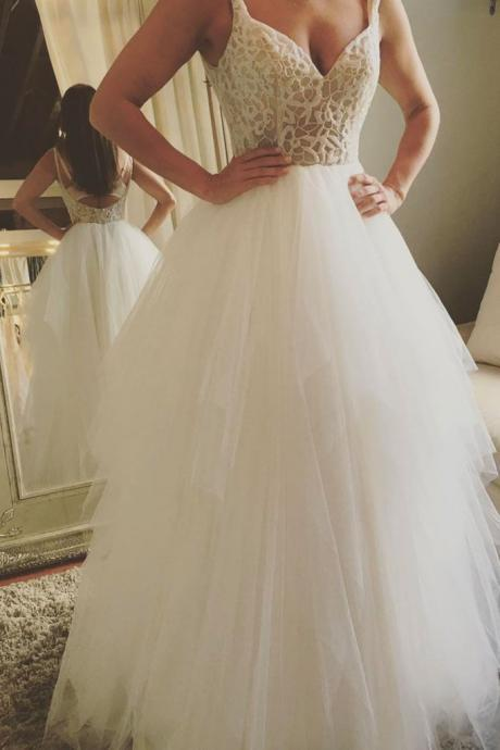 V-Neck Lace Tulle A-line Floor-Length Wedding Dress Featuring Open Back
