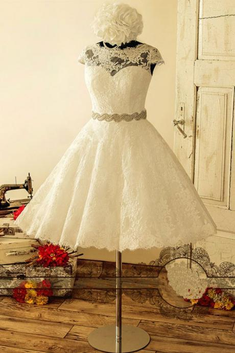 white lace short wedding dress, white lace Bridal gown,lace wedding dresses