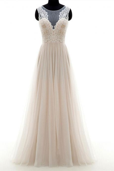 Champagne round neck tulle lace long wedding dress, champagne wedding dresses