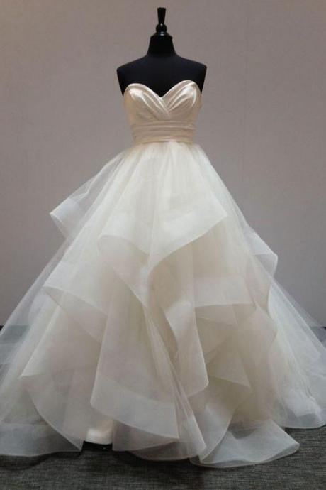 Strapless Sweetheart Tulle Ruffle Ball Gown, Wedding Dress