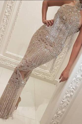Crystal Long Formal Evening Dress Mermaid Celebrity Pageant Party Prom Gown