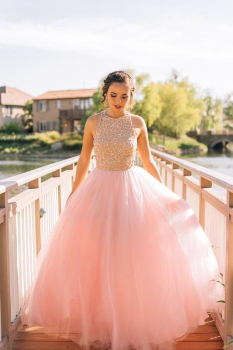 Pink Tulle Prom Dresses,Princess Prom Dress,Ball Gown Prom Gown