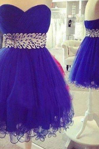 Blue Ruched Sweetheart Short Homecoming Dress Featuring Crystal Embellishments
