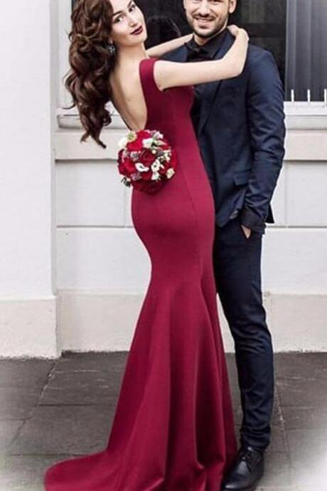 Sexy Prom Dress,Wine Red Prom Dresses,Sleeveless Mermaid Prom Dress,Sweep Train Mermaid Evening Dress,Long Formal Dress