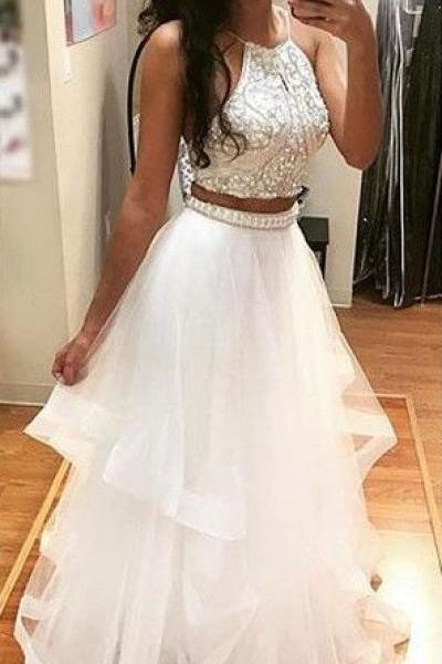 Charming Prom Dress,Two Pieces Prom Dress,Sexy Evening Dress,Halter Prom Dresses,Backless Long Party Dress
