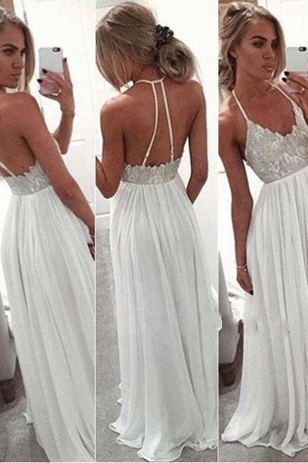 White Chiffon Prom Dress,Sequins Prom Gown,Backless Prom Dress,Long Dress for Prom