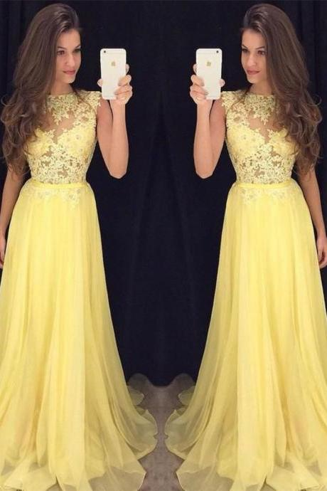 Yellow Prom Dress, Lace Applique Prom Dress, Long Prom Dress, Cheap Prom Dress, Chiffon Prom Dress, A Line Prom Dress, Prom Dresses , Women Formal Dresses, Elegant Prom Dress, Lace Applique Prom Dress