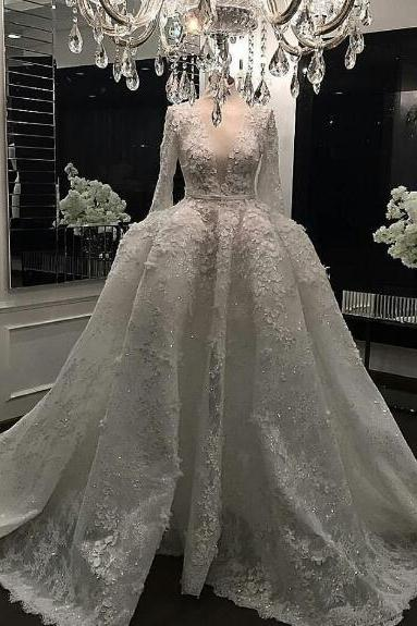 Luxury Wedding Dress, Real Photo Wedding Dresses, Wedding Ball Gown, Lace Applique Wedding Dress, Ivory Wedding Dress, Long Sleeve Wedding Dress, Deep V Neck Wedding Dress, Princess Wedding Dress, Crystal Wedding Gown