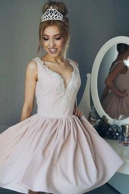 Cute A-line V neck short prom dress, homecoming dresses