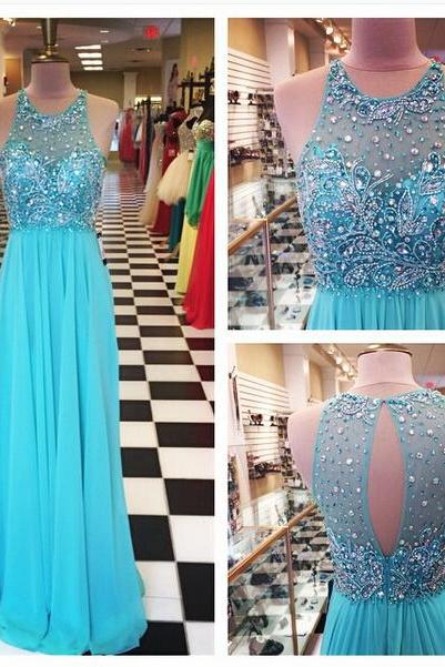A Line Chiffon Prom Dresses Crew Neck Beaded Crystals Pleat Sleeveless Evening Party Dresses Gowns Vestidos Open Back Homecoming Dresses