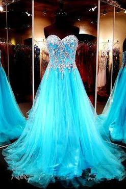 Stunning Sweetheart Bodice Beaded Blue Tulle Long Prom Dress,A Line Lace Back Up Prom Gown, Handmade Evening Gowns, Formal Women Dresses