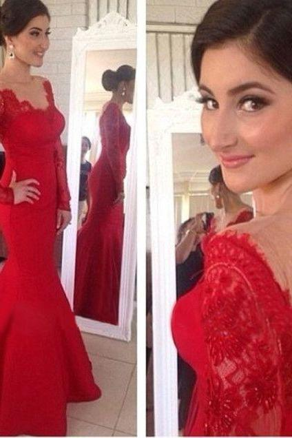 New Arrival Red Lace Long Sleeves Mermaid Prom Dress, V-neck Backless Long Prom Dresses,Open Back Evening Prom Gown