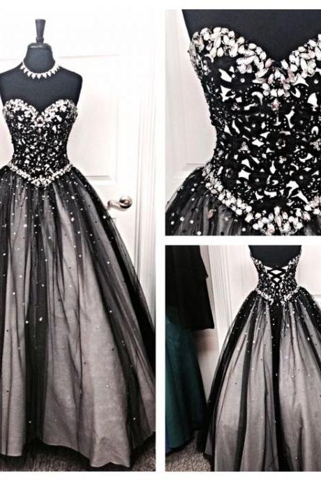 Custom Made Black Crystal Beaded Sweetheart Neckline Ball Gown, Prom Dress with Corset Lace Up Bodice