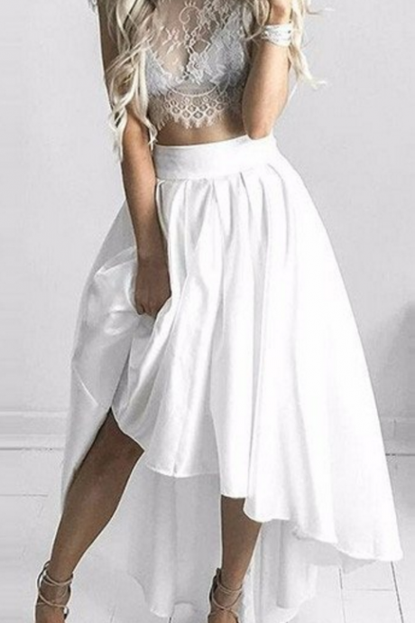 Two Piece White Hi-Lo Formal Dress, Lace Capped Sleeves Sexy Prom Dresses