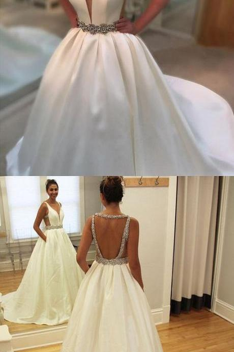 Custom Made White wedding Dress,Backless wedding Dresses,Beaded Bridal Dress,V-Neck Prom Dress,wedding dresses