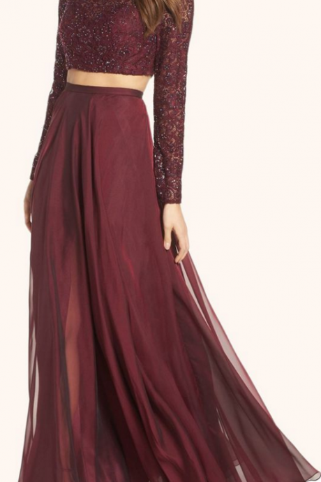 Two Piece Long Sleeves Formal Dress,Lace Prom Gown, Burgundy Formal Dresses