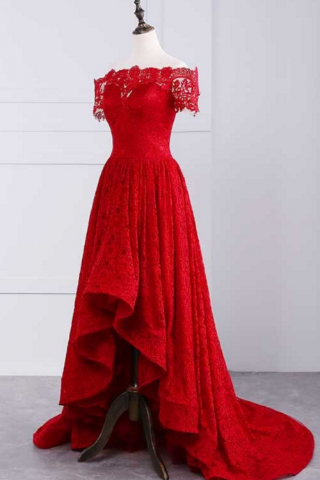 Red Lace prom dresses ,sexy prom dresses,off shoulder prom dresses,lace prom dresses,red prom dresses