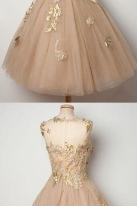 Beauty champagne homecoming dress,Cheap Homecoming Dress,tulle homecoming dress,lace homecoming dress,ball gown homecoming dress