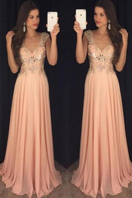 Long Prom Dress,Beading Prom Dress,One Shoulder Prom Dress,Elegant Prom Dress,Chiffon V Neck Evening Dress,Sexy Party Dress