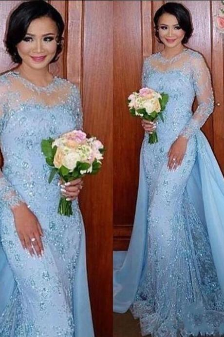 Sexy Sheer Lace Prom Dress, Cheap Prom Dress,Long Sleeve Sky Blue Prom Dress, Mermaid Prom Dress, Illusion Neck Arabic Party Dress, Cheap Party Dress,Elegant Formal Dress With Detachable Skirt, Sky Blue Lace Appliques Party Dress, Formal Evening Dress With Full Sleeve, 2018 Vestidos De Festa