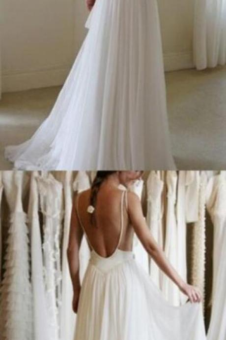 White Chiffon Wedding Dress,Backless Wedding Dresses,Lace Wedding Dresses,Lace Wedding Dress Sheer Back, Lace Wedding Dress, Wedding Dress