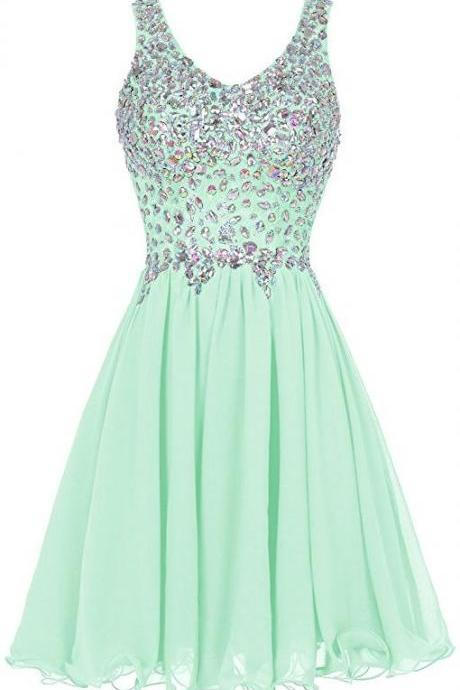 Mint Green Prom Dress,Beaded Prom Dress,Fashion Homecoming Dress,Sexy Party Dress,Custom Made Evening Dress