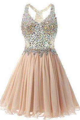 Beaded Embellished Plunge V Sleeveless Short Chiffon A-Line Ruffled Homecoming Dress, Party Dress