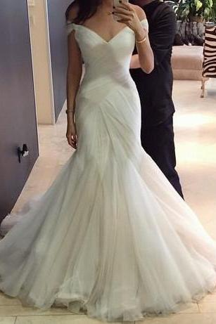 Custom Made White Off Shoulder Neck Ruched and Draped Mermaid Wedding Dress