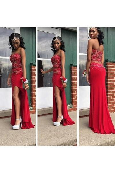 Prom Dress, Formal Dress, Two Piece Prom Dress, Red Sweetheart Prom Dresses, Court Train, Chiffon, Crop, Tops Sheath, Column Prom Evening Dress