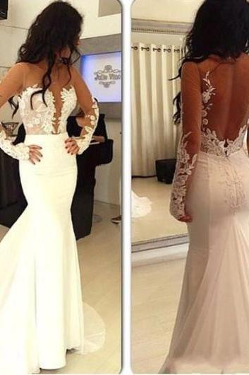 Sexy Prom Dresses,Hot Sale Prom Dress,Mermaid Prom Dress,Open Back Prom Dress,Long Sleeve Prom Dress