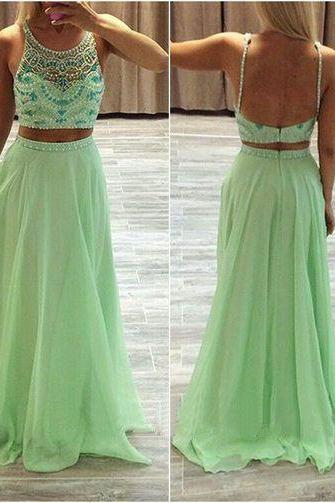 Spaghetti Straps Two Pieces Prom Dress, Long Prom Dresses, Evening Dresses, Backless Party Dresses, Beautiful Dresses, For Teens