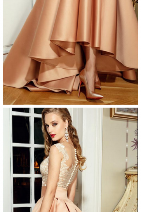 Champagne Prom Dresses, V Neck Evening Dresses, Lace Appliques Prom Dresses, High Front and Lo