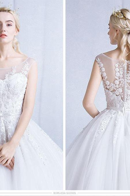 O-neck A-line ball gown prom dresses, white Wedding dress, evening dress, with zipper, gown dresses