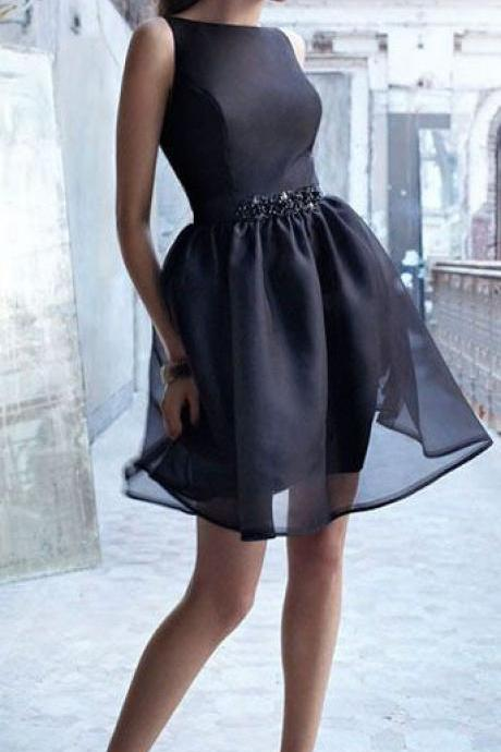 black homecoming dress, oganza homecoming dress, A-line, short prom dress, charming prom dress, for teens