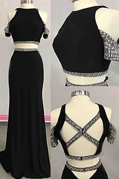 Charming Prom Dress ,Two Piece Prom Dress,Black Chiffon Prom Dress,Evening Dress