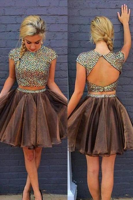 short prom dress, brown, open back, A-line, above knee, high neck, with dreads, homecoming dress