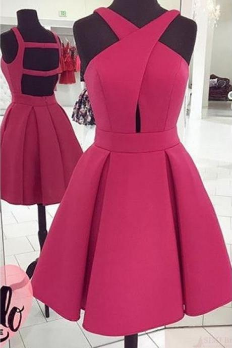 A Line Short Mini Homecoming Dress, Pleats, Crossed Neck, Sleeveless, Homecoming Dresses, Party Dresses, Graduation Dresses, Prom Dresses