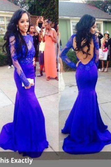 Lace Mermaid Prom Dress,Long Sleeves Prom Dresses,Royal Blue Open Back Prom Dress, Floor Length Evening Gowns