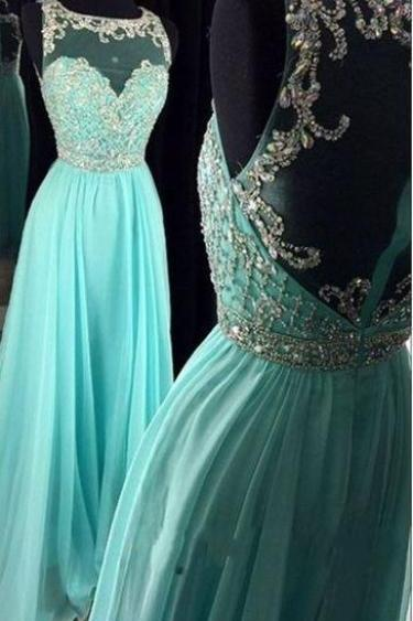 Long Mint Chiffon Prom Dresses, Evening Dresses, Prom Gowns,Evening Gowns,Party Dresses, Cheap Prom Dresses,Free Custom Prom Dresses