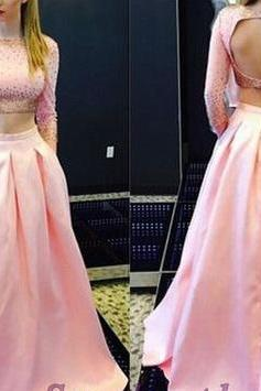 Pink, satin, round neck, handmade, sleeves, open back, senior, Two Pieces, prom dress