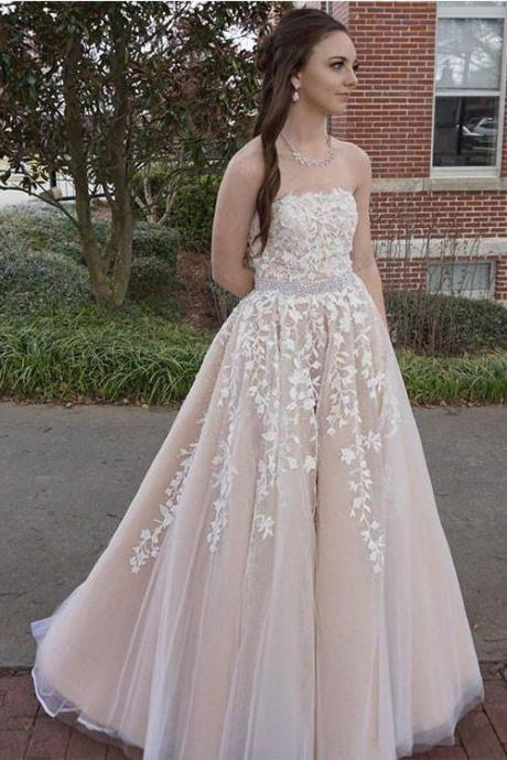 Strapless Prom Dress,Sexy Appliques Prom Dresses, Sleeveless Tulle Formal Evening Dress