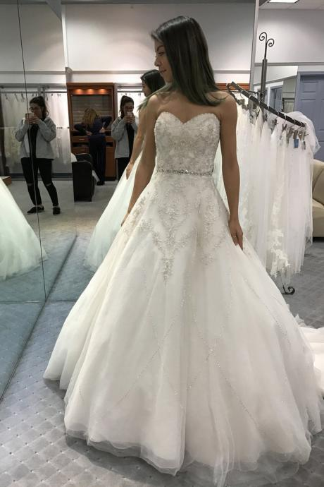 Charming Wedding Dress, Crystal Beading White Tulle Wedding Dresses, Sexy Bridal Dress