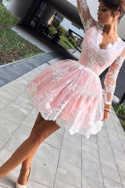 long sleeve party dress,lace homecoming dress, pink party dress,short prom dress,cute homecoming dress,formal dress