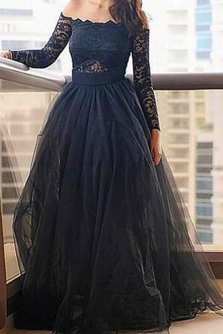 Sexy Evening Gowns,Modern Off-the-shoulder Black Prom Dress With Lace Long Sleeve Prom Dress