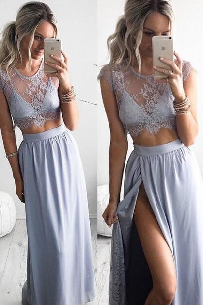 New Arrival Prom Dress,Modest Prom Dress,Two piece prom dress,Lace evening dresses,cap sleeve formal dress with slit ,women dresses for evening
