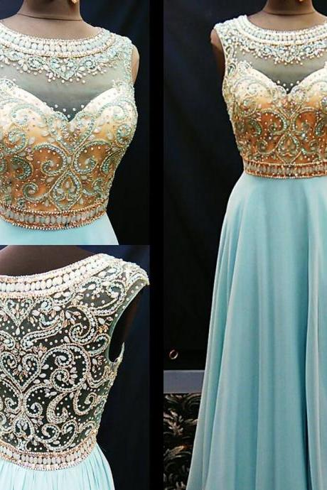 cheap prom dress, long blue Prom Dresses, Evening Gown, beaded prom dress,formal evening dress, formal evening gown