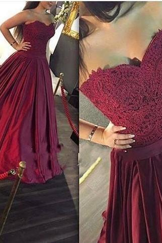 Maroon Long Prom Dress, Sweetheart A-line Lace Prom Dress,Formal Dress,Evening Dress, Ball Gown, Party Dress, Custom Made Prom Dresses
