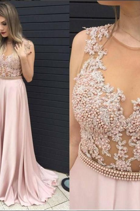 Modest Prom Dresses,Sexy New Prom Dress,Blushing Pink Long Prom Dress Illusion Pearls Belt Evening Dresses