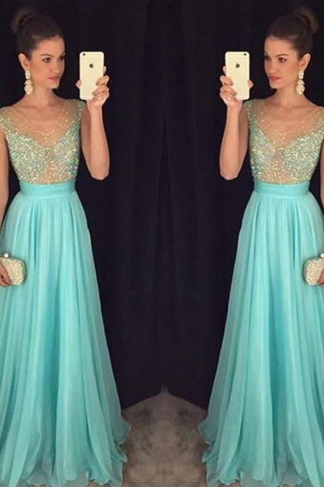 Prom Dresses,Prom Dress,Crystal V-Neck Sleeveless Prom Dresses New Arrival A-Line Natural Party Gowns